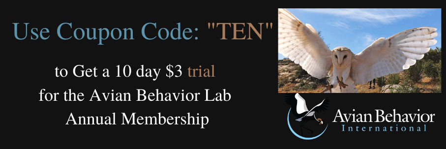 use coupon code TEN to get a 10 day $3 trial of avian behavior lab